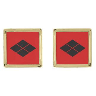武田のkamonの日本のな武士の一族の赤 ゴールド カフスボタン