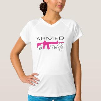 武装した及び丁寧なTシャツ-ピンクAR15 Tシャツ