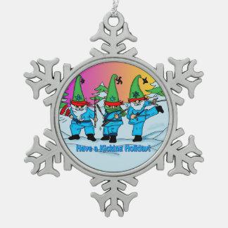 武道の空手の小妖精や小人のオーナメント スノーフレークピューターオーナメント