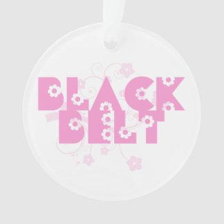 武道の黒帯のピンクの花 オーナメント