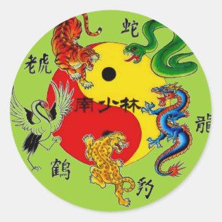 武道5匹の動物 丸型シール