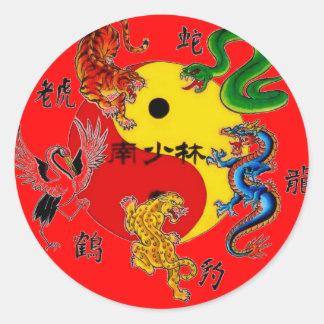 武道5匹の動物 丸形シール・ステッカー