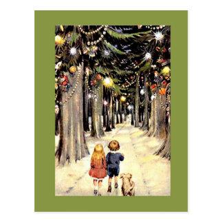 歩行のクリスマスの懐旧の情 ポストカード