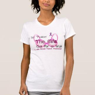 歩行の女性のための女の子がティーにのせるTakin Tシャツ