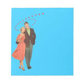 歩行の家庭の甘いカップルのヴィンテージのイラストレーション ノートパッド