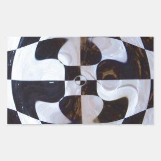 歪む白黒チェッカーボード 長方形シール
