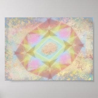 歪められた万華鏡のように千変万化するパターン-淡色の抽象芸術 ポスター