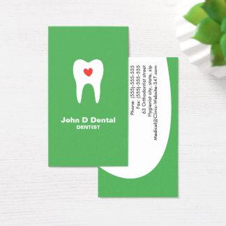 歯およびハートは歯科歯科医の名刺を緑化します 名刺