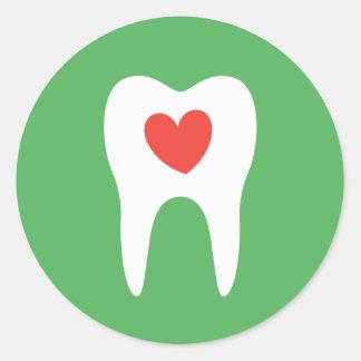 歯のシルエット愛ハートの歯科医の歯科ステッカー ラウンドシール