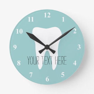 歯のロゴの歯科医のオフィスの柱時計 ラウンド壁時計