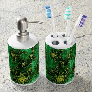 歯ブラシのホールダーのケリーの緑のフラクタルデザイン バスセット