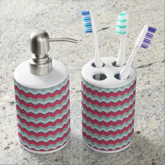 歯ブラシスタンド及びソープディスペンサーのショッキングピンクのジグザグ形 バスセット