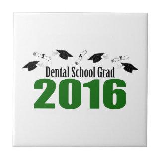 歯学部の卒業生2016の帽子および免状(緑) タイル