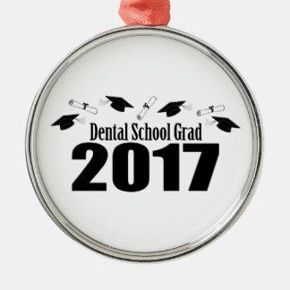 歯学部の卒業生2017の帽子および免状(黒) メタルオーナメント