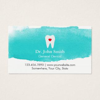 歯科アポイントメントの歯のハートの水彩画の歯科医 名刺