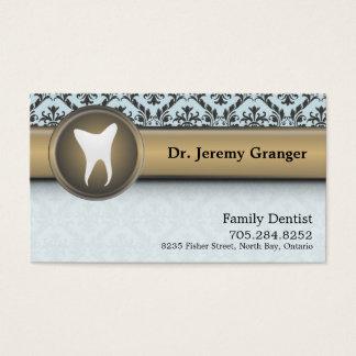 歯科医の名刺-歯のヴィンテージの青及び金ゴールド 名刺