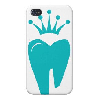 歯科医のiPhoneカバーかわいい歯の王冠のロゴの青 iPhone 4/4S カバー