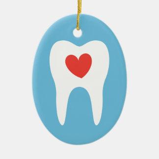 歯科歯のシルエット愛ハートの歯科医 セラミックオーナメント