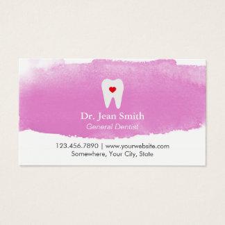歯科歯科医のアポイントメントの歯のハートの水彩画 名刺