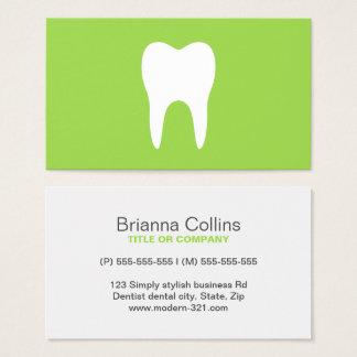 歯科白人の歯のライムグリーンの最小主義の歯科医 名刺