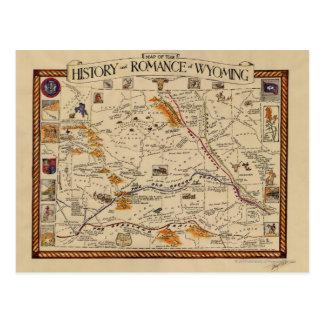歴史の地図およびワイオミングのロマンス ポストカード