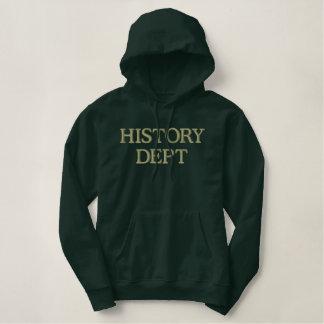 歴史学部の大学フード付きスウェットシャツ 刺繍入りパーカ