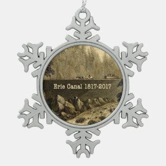 歴史的なエリー運河二百年毎年 スノーフレークピューターオーナメント