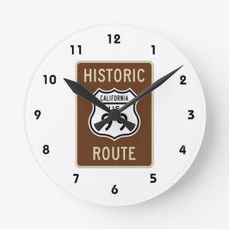 歴史的なルート米国のルート99の(カリフォルニア)印 ラウンド壁時計