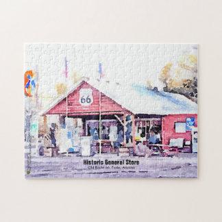 歴史的なルート66のアリゾナの雑貨店の水彩画 ジグソーパズル