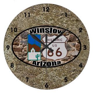 歴史的なルート66 - Winslow、アリゾナ ラージ壁時計