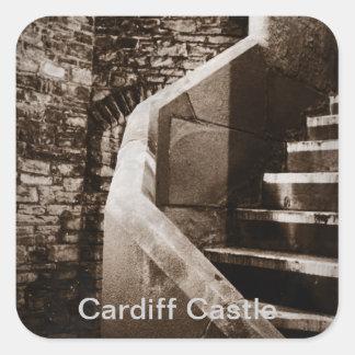 歴史的な中世カーディフの城階段 スクエアシール