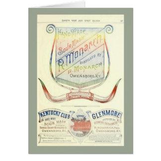 歴史的な1893年のウィスキーのラベルが付いている空白のなカード カード
