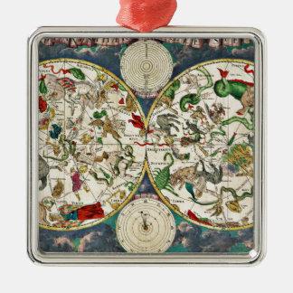 歴史的な(占星術の)十二宮図の地図1670年 メタルオーナメント
