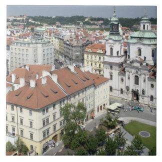 歴史的プラハのチェコスロバキア共和国の都市景観 正方形タイル大