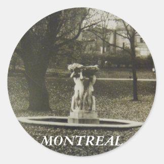 歴史的モントリオールの噴水のステッカー ラウンドシール