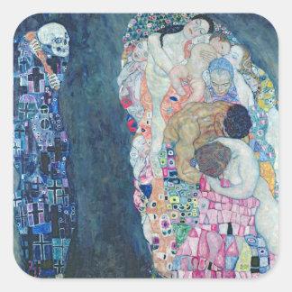 死および生命、c.1911 (キャンバスの油) スクエアシール