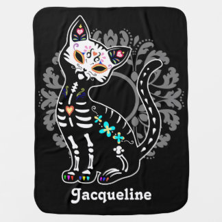 死んだかわいい猫のカスタムの黒のガーリーな日 ベビー ブランケット