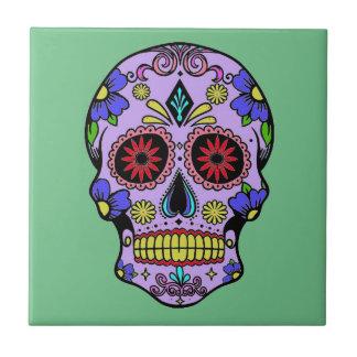 死んだスカルの陶磁器の緑のメキシコ日 タイル