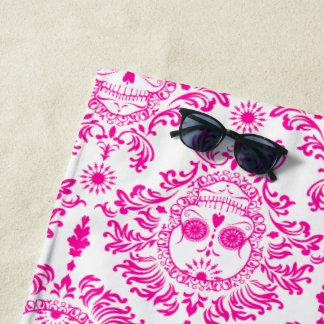 死んだダマスク織のショッキングピンクの砂糖のスカルのビーチタオル ビーチタオル