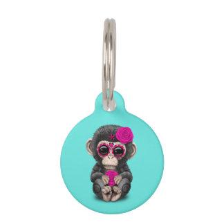 死んだチンパンジーのピンク日 ペット ネームタグ