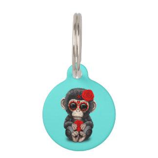 死んだチンパンジーの赤い日 ペット ネームタグ
