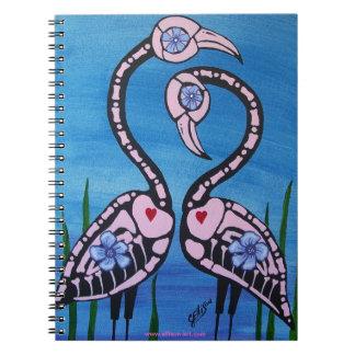 死んだノートのピンクのフラミンゴの組日 ノートブック