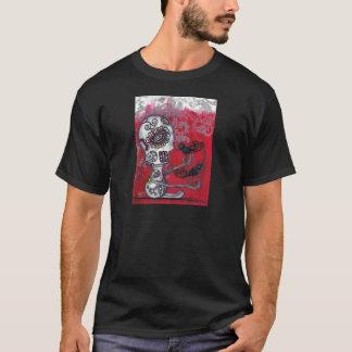 死んだワイシャツのカラスの赤い骨組日 Tシャツ