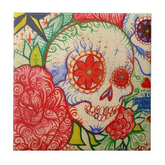 死んだ入れ墨の芸術の壁のタイルのスカル日を砂糖で甘くして下さい タイル