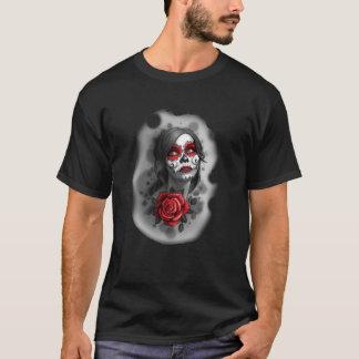 死んだ女の子の赤い化粧およびばら色のスケッチの日 Tシャツ