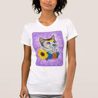 死んだ猫のヒマワリの砂糖のスカル猫の芸術の日 Tシャツ