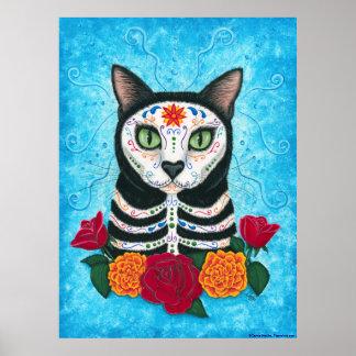死んだ猫の日、砂糖のスカル猫の芸術ポスター ポスター
