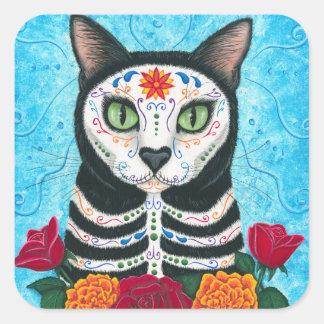 死んだ猫の砂糖のスカルの芸術のステッカーの日 スクエアシール