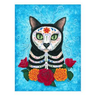 死んだ猫の砂糖のスカルの芸術の郵便はがきの日 ポストカード