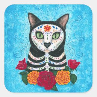 死んだ猫の砂糖のスカル猫の芸術の日 スクエアシール